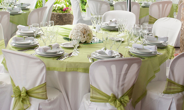 Wedding Table Decoration Green and White